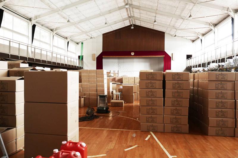 旧体育館を利用した倉庫