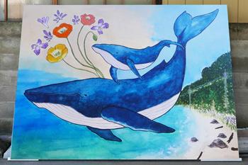 鯨の親子の絵