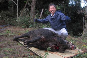猪を解体する森田さん