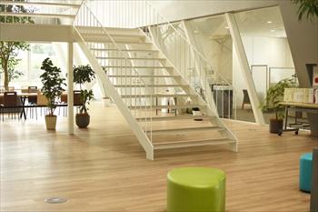 社屋中央にあるオープンな階段